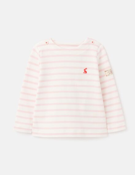 Joules JNR Harbour Jersey Top White Pink Stripe