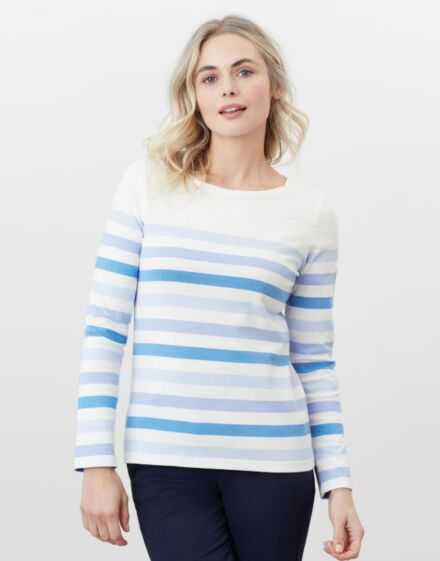Joules Harbour Print Long Sleeve Jersey Top Cream Stripe