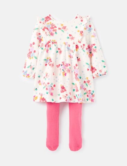 Joules Baby Harleigh Dress & Tight Set White Ditsy