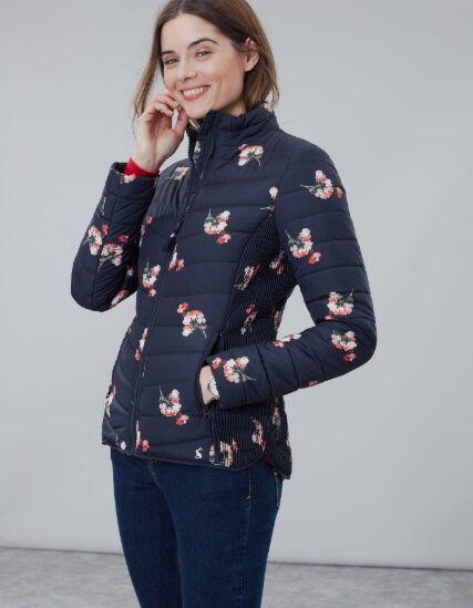 Joules Harrogate Printed Padded Jacket Navy Posy