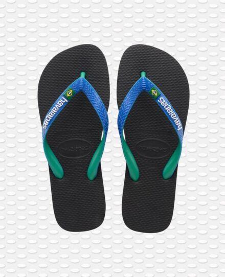 Havaianas Brasil Mix Flip Flops Black/Blue Star