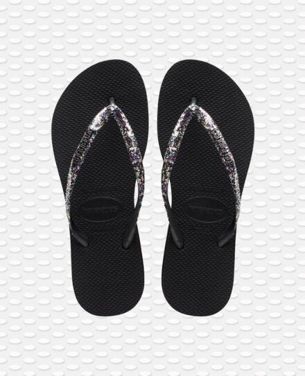 Havaianas Slim Flatform Glitter Flip Flops Black
