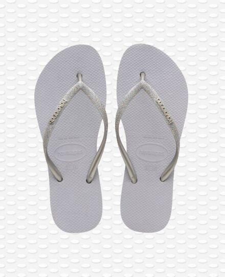 Havaianas Slim Flatform Glitter Flip Flops Ice Grey