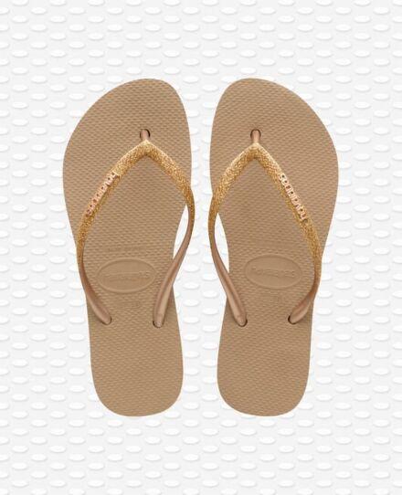Havaianas Slim Flatform Glitter Flip Flops Rose Gold