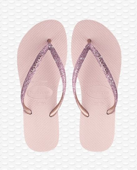 Havaianas Slim Glitter Flip Flops Ballet Rose