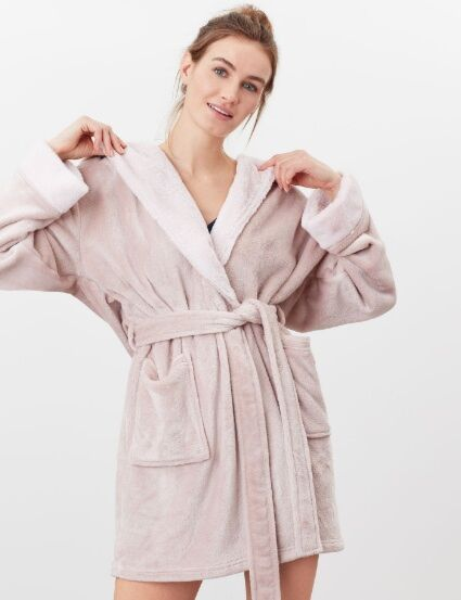 Joules Helena Faux Fur Dressing Gown Pink