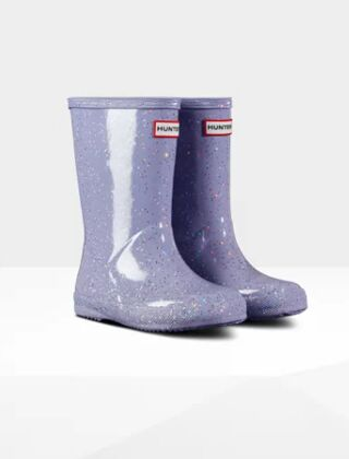 Hunter Kids First Classic Giant Glitter Wellies Pulpit Purple