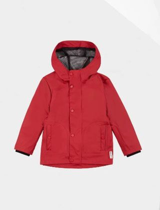 Hunter Original Little Kids Lightweight Waterproof Jacket Military Red