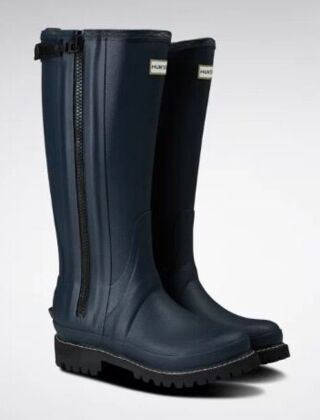 Hunter Women's Balmoral Rubber Full Zip Boots Navy