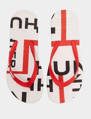 Hunter Women's Exploded Logo Flip Flops Hunter Red