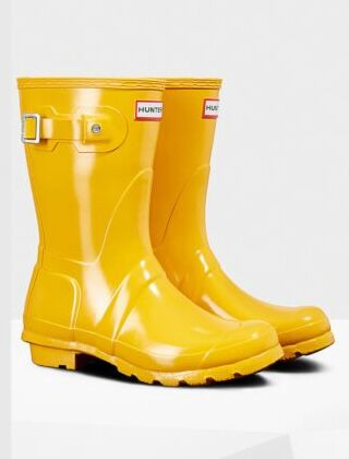 Hunter Women's Original Gloss Short Boot Yellow