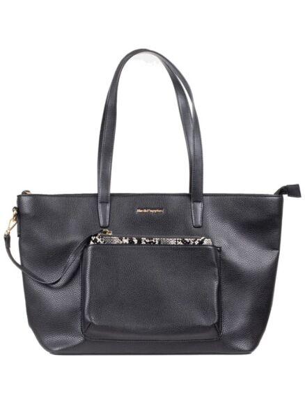 Hush Puppies Sadie Snakeskin Tote Bag Black