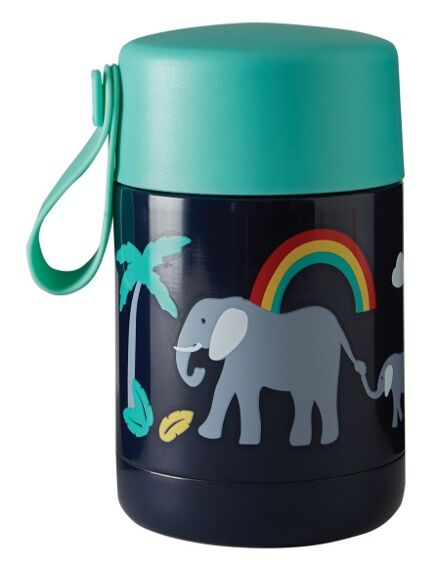 Frugi Yummy Insulated Food Flask Indigo Elephant