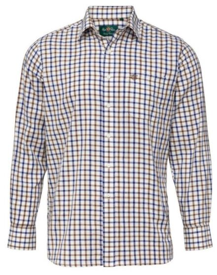 Alan Paine Ilkley Mens Country Check Shirt Brown Check