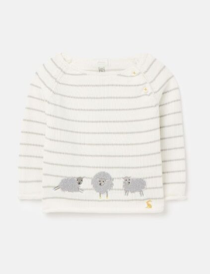 Joules Intarsia Knit Jumper Grey Sheep