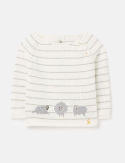Joules Intarsia Knit Jumper Grey Sheep