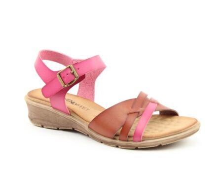 Heavenly Feet Iris Sandals Fuchsia/Brown