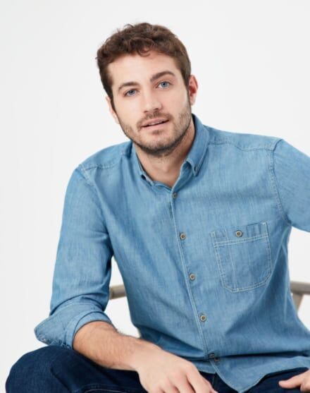 Joules Chambers Classic Fit Shirt Mid Chambray