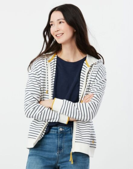 Joules Embroidered Oakham Hooded Sweatshirt Cream Navy Bee