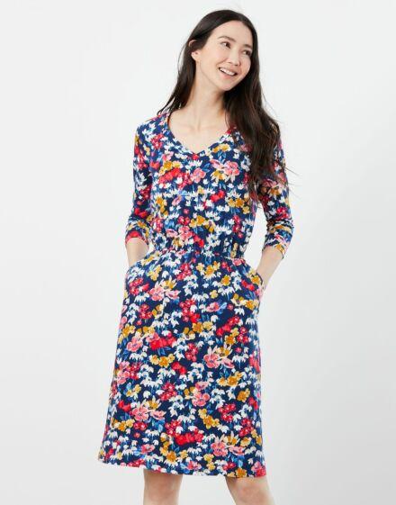 Joules Jade Print Jersey Dress Blue Floral