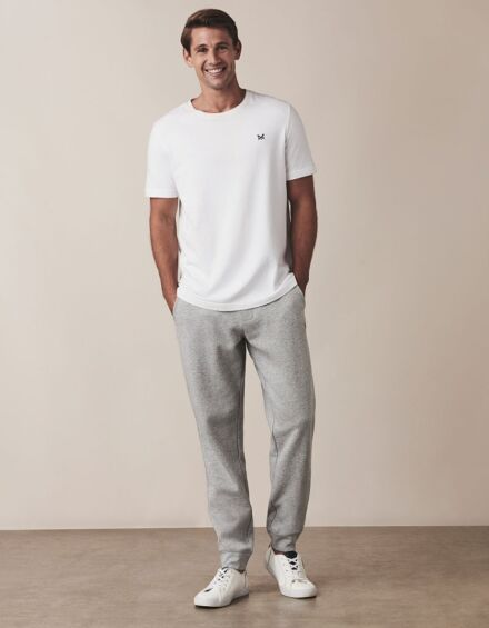 Crew Clothing Cotton Jersey Joggers Grey