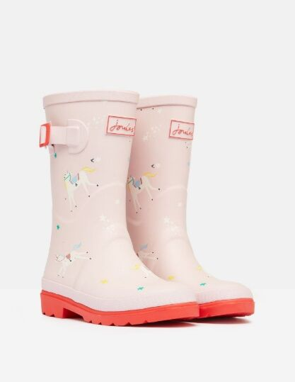 Joules Junior Printed Wellies Pink Unicorns