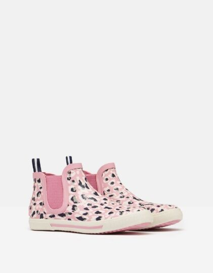 Joules JNR Rainwell Short Height Wellies Pink Leopard