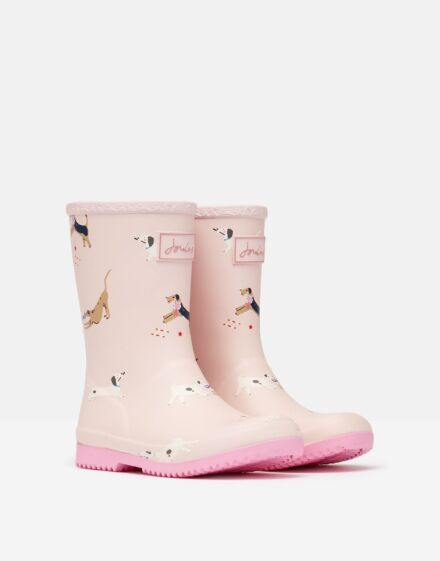 Joules JNR Roll Up Wellies Pink Dog Show