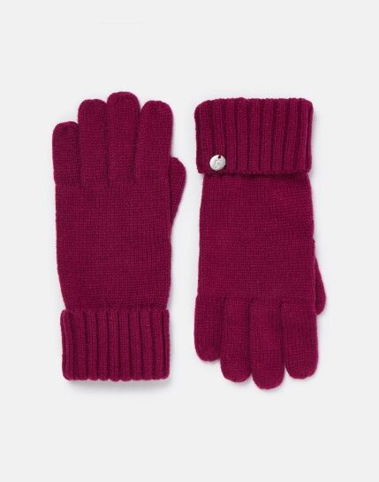 Joules Joanie Knitted Gloves Plum