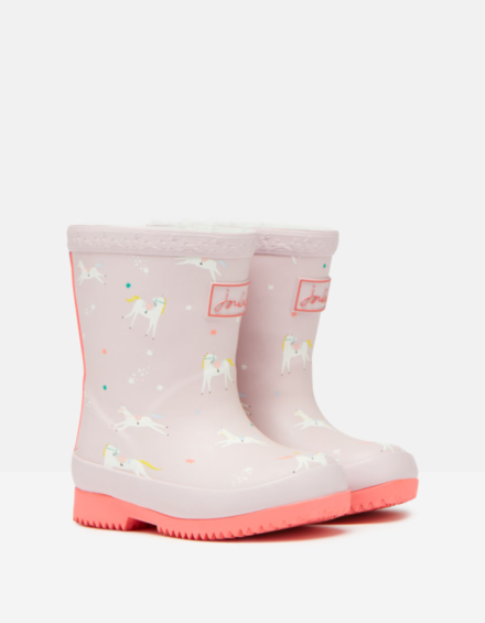Joules Baby Printed Wellies Pink Unicorns