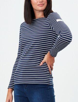 Joules Harbour Jersey Long Sleeve Top Navy Cream Stripe