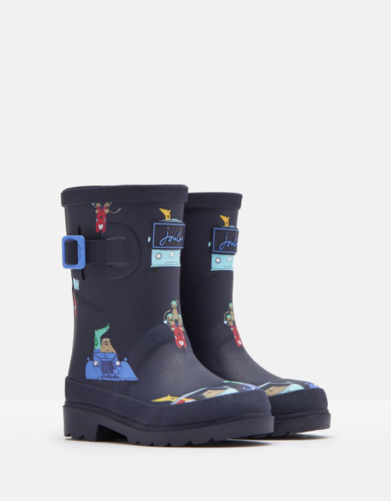 Joules Junior Printed Wellies Navy Animals