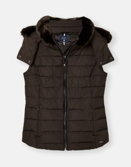 Joules Merrium Padded Gilet with Faux Fur Collar Metallic Bark