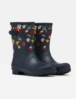 Joules Molly Mid Height Printed Wellies Navy Blossom