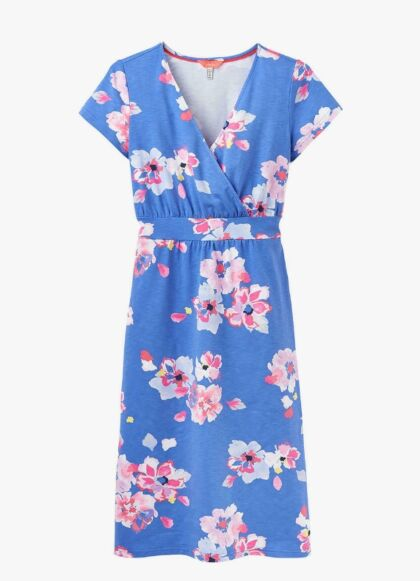 Joules Jude Jersey Wrap Dress Blue Floral