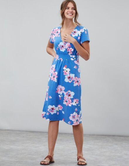 Joules Jude Jersey Wrap Dress Blue Floral