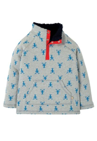 Frugi Snuggle Fleece Grey Marl Lobster