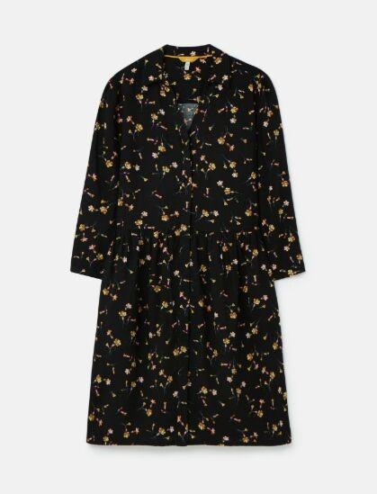 Joules Karis Placket Shirt Dress Black Primrose