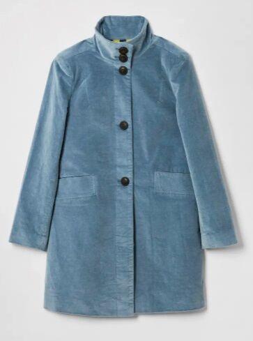 White Stuff Kenley Velvet Coat Light Blue