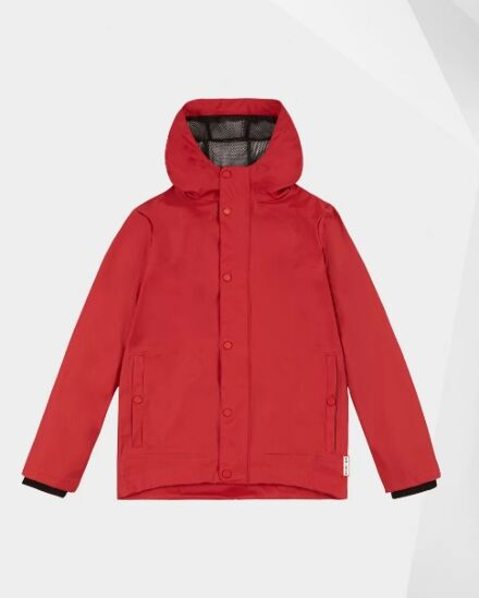 Hunter Original Kids Lightweight Waterproof Jacket Military Red