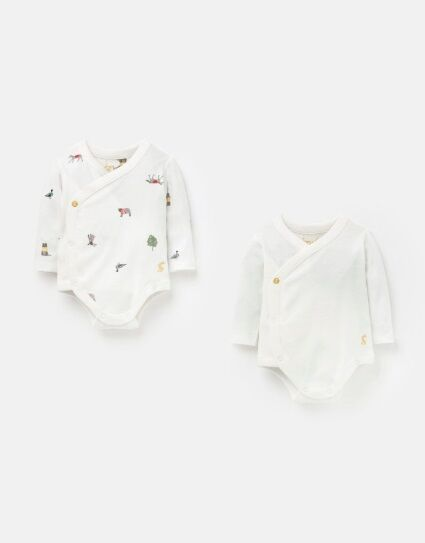 Joules Kimono Cottom 2Pack Bodysuits White Farm Print