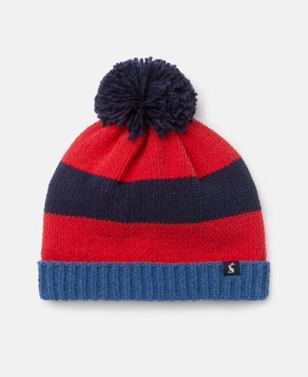 Joules Knitted Bobble Hat Navy Stripe