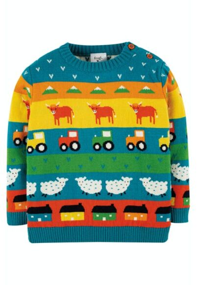 Frugi Little Fin Fairisle Jumper Tractor
