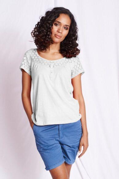 Mistral Lace False Grandad Shirt White