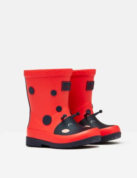 Joules Baby Printed Wellies Red Ladybird