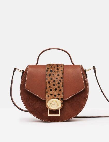 Joules Langton Mini Saddle Leather Cross Body Bag Tan