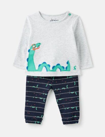 Joules Baby Boys Lawson Applique Set Grey Loch Ness