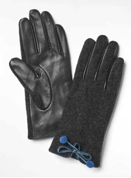 White Stuff Lucy Leather Pom Pom Gloves Charcoal