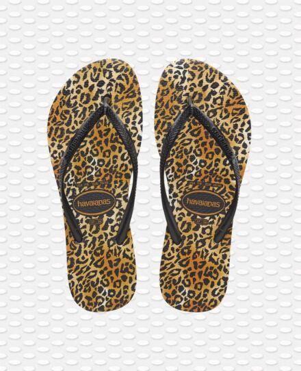 Havaianas Slim Leopard Flip Flops Black
