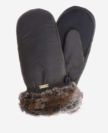 Barbour Wax With Fur Trim Mittens Olive